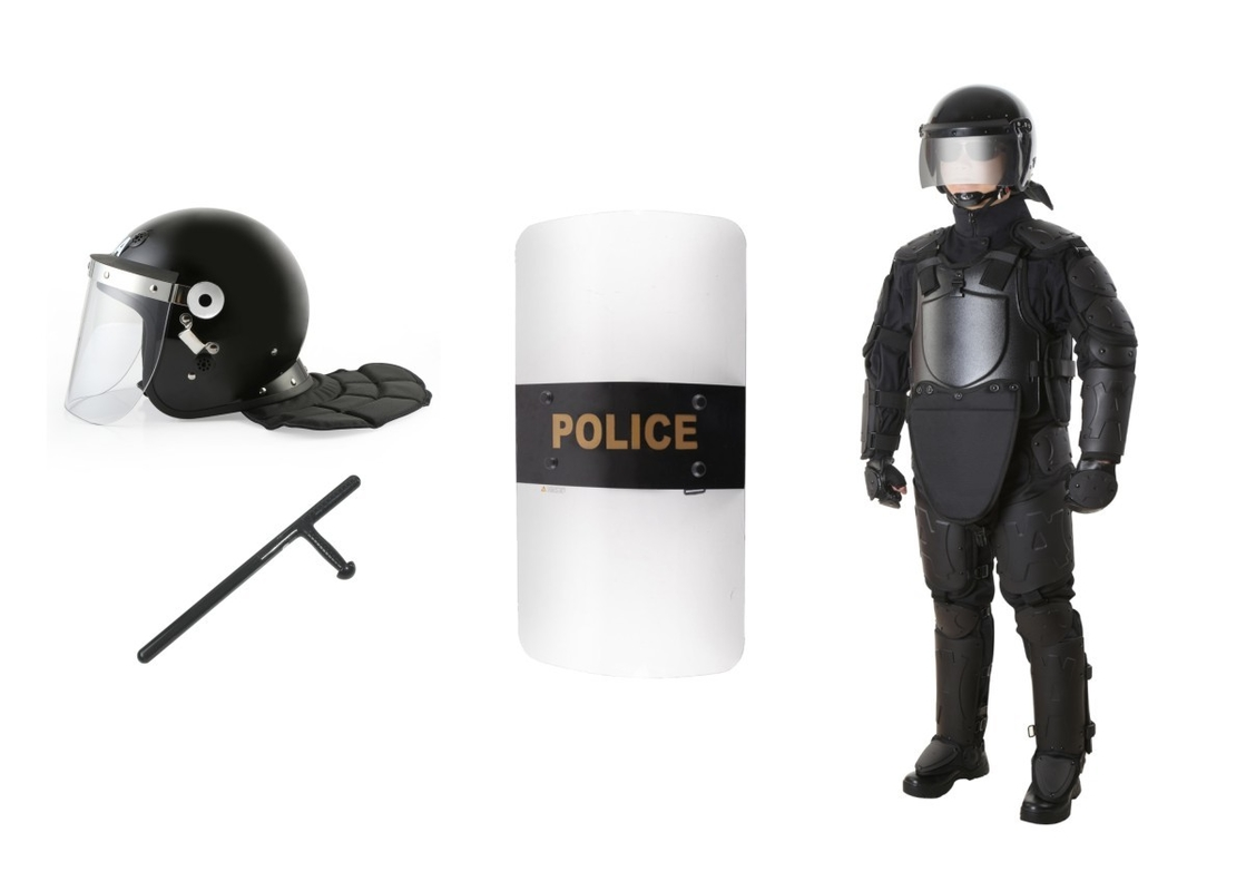 Safety Police And Tactical Gear / Police Riot Suit Protective Helmet And Shield